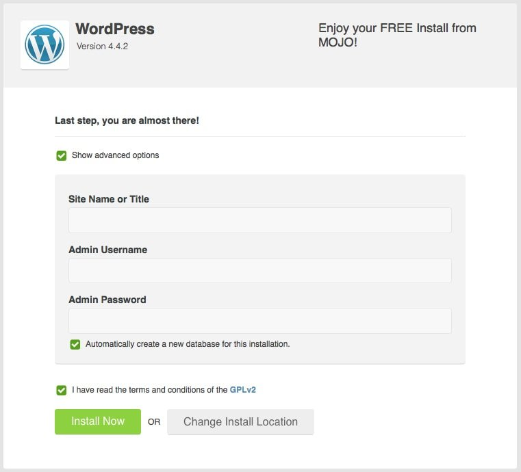Installing WordPress, the Last Step