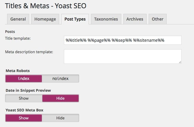 Titles and Metas Post Type