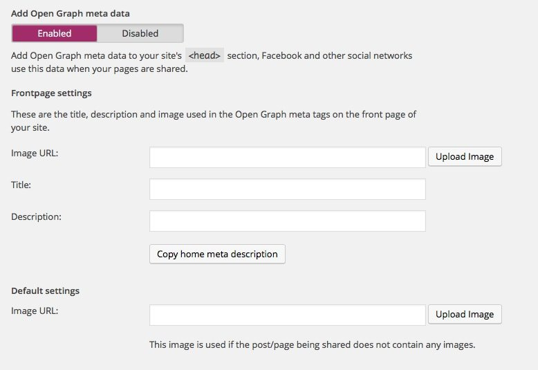Yoast SEO Facebook Settings