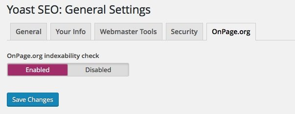 Yoast SEO OnPage Settings
