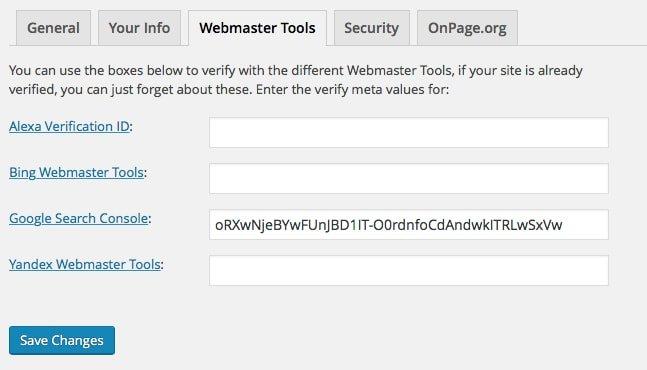 Yoast Webmaster Tools Settings