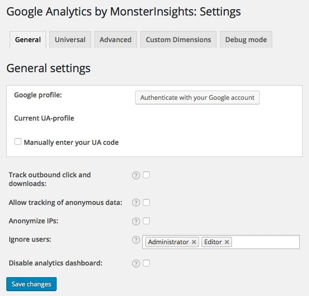 Analytics Settings