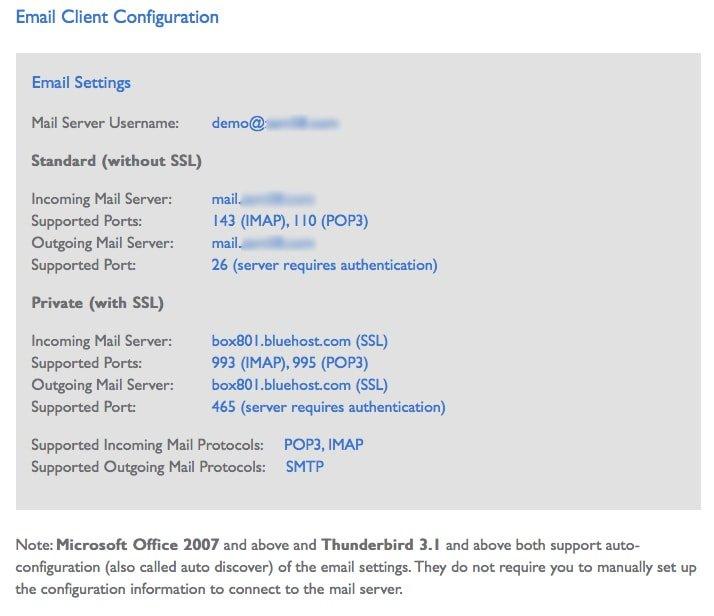 Email Client Configuration