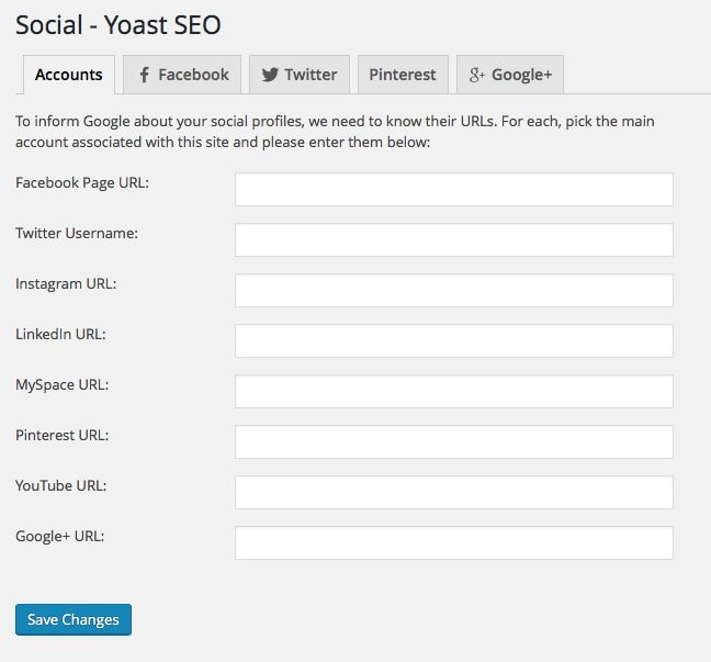 Yoast SEO Social Accounts