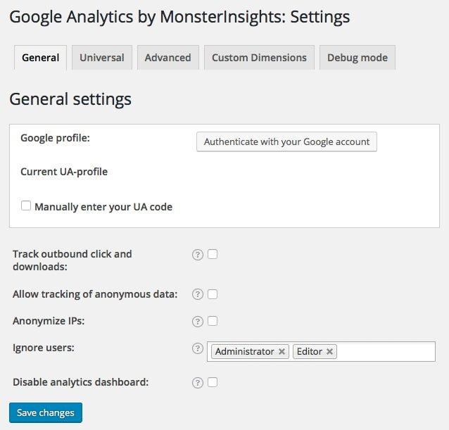 Analytics Settings