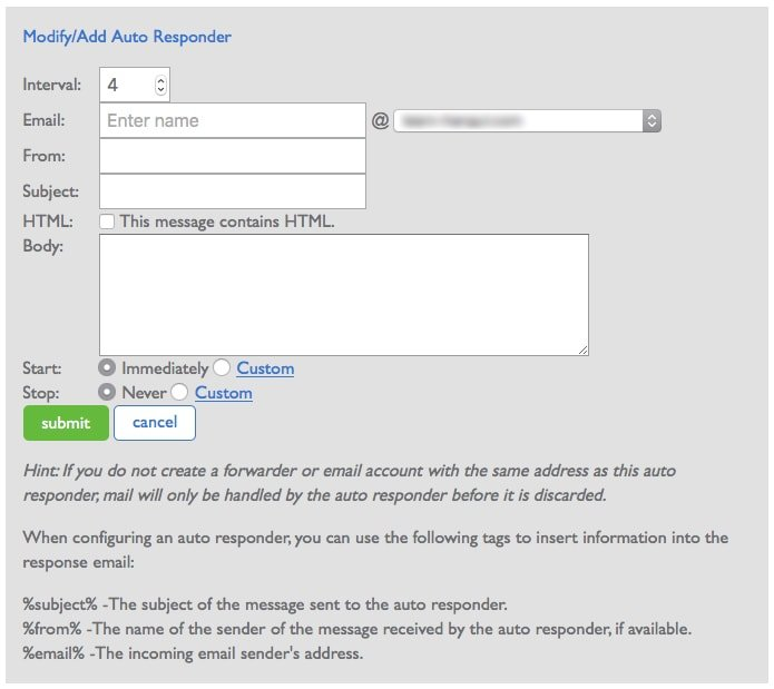 Modify Auto Responder