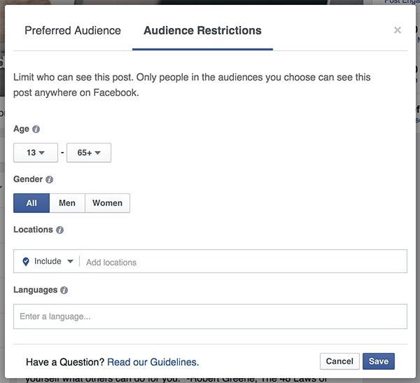Audience Restrictions