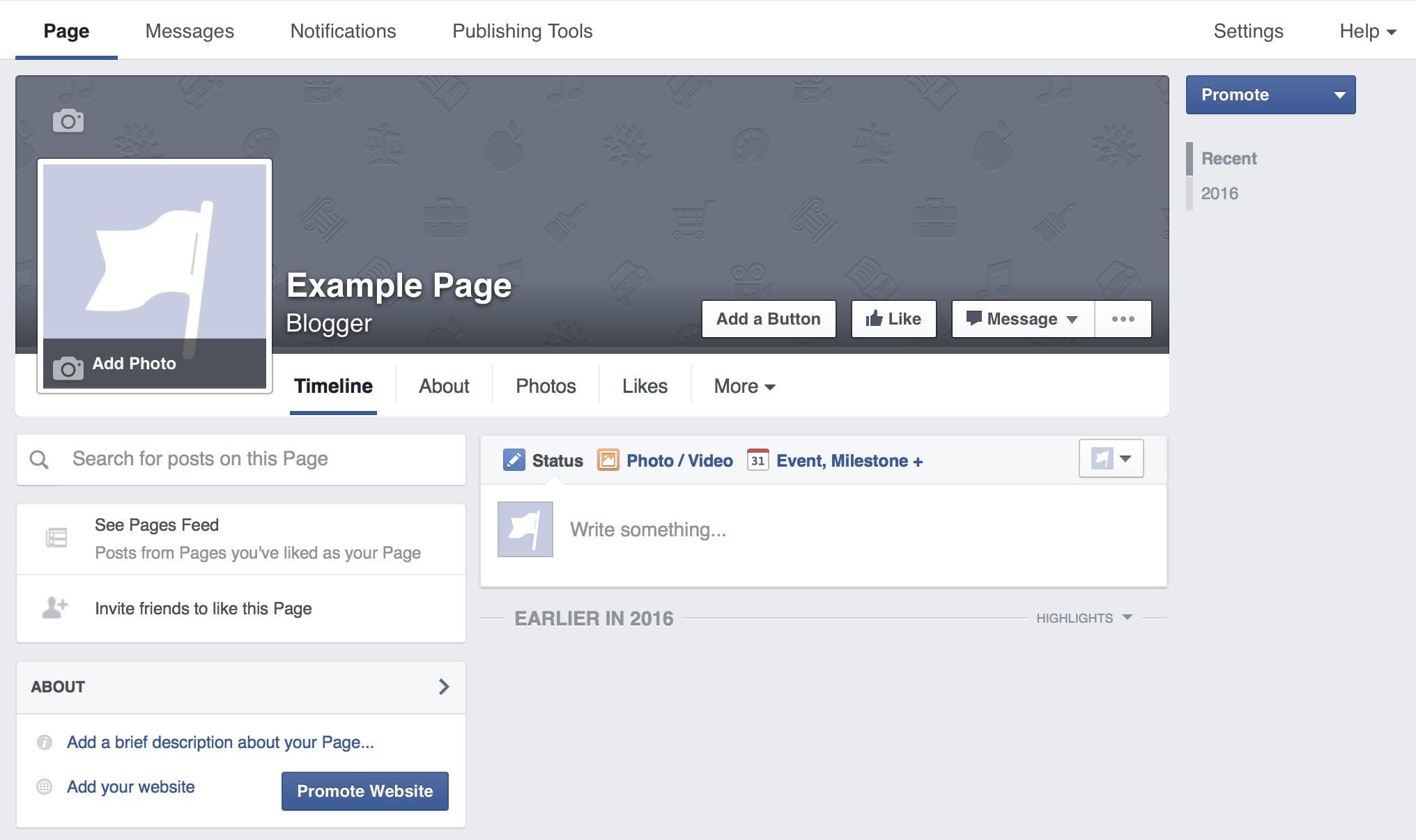 Empty Facebook Page