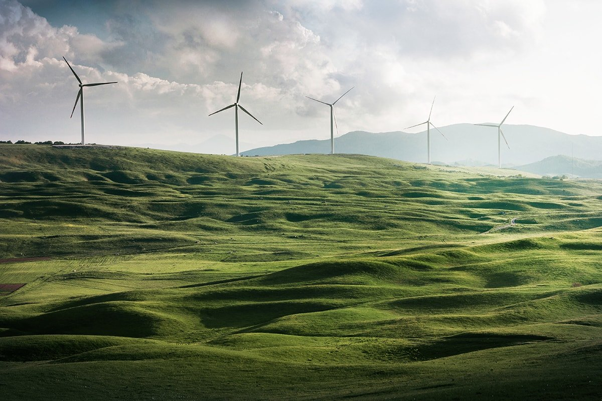 Windmills with green energy