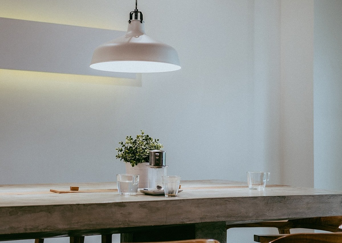 Bright lighting over dining room table
