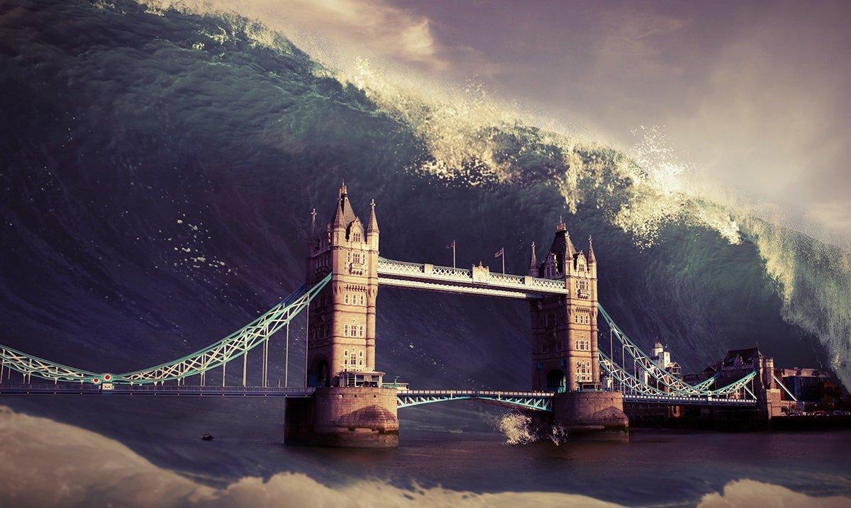 Catastrophic flood hitting a bridge