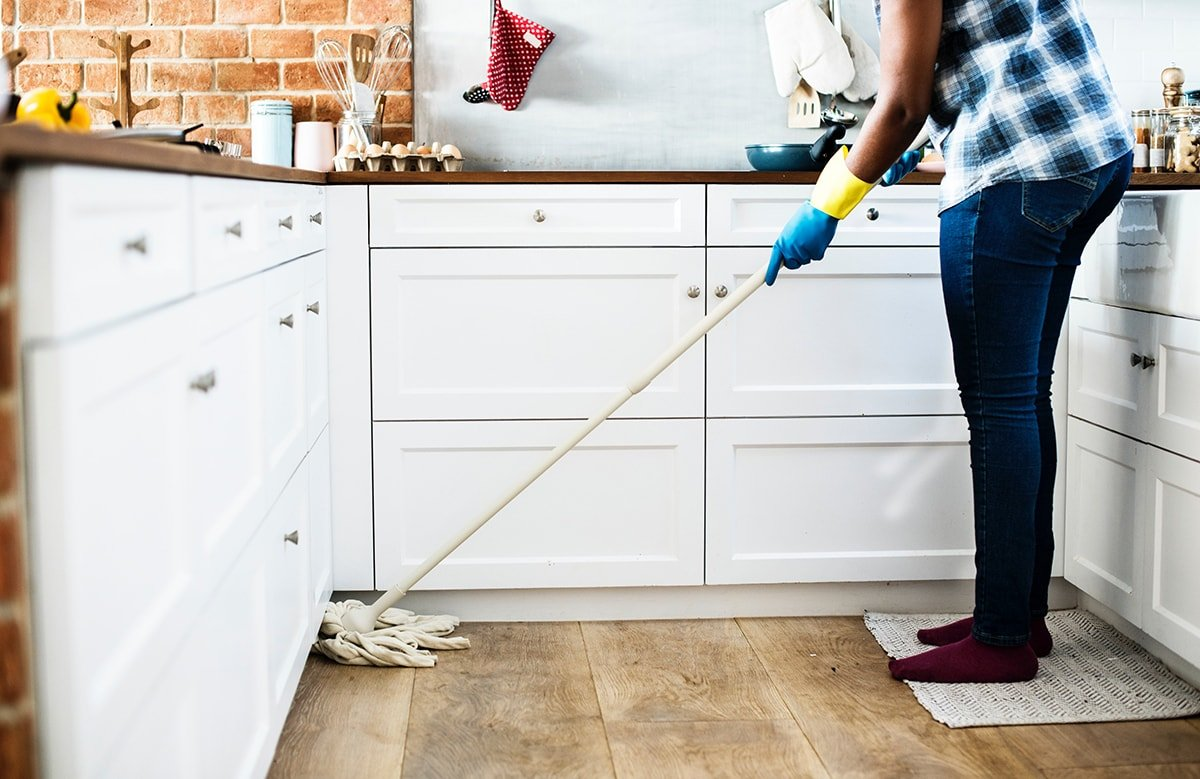 Cleaning mold in a kitchen