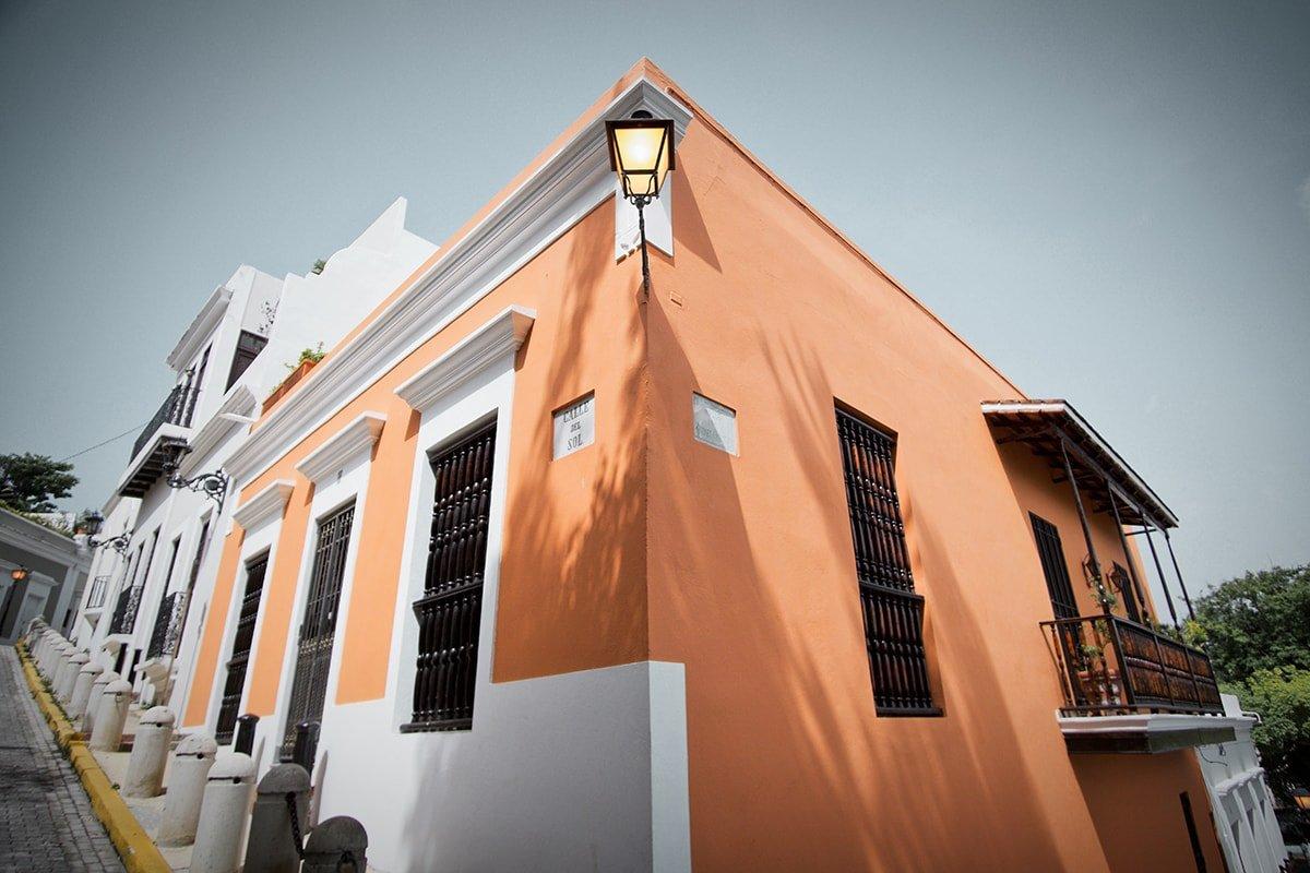 Corner of orange building in Puerto Rico