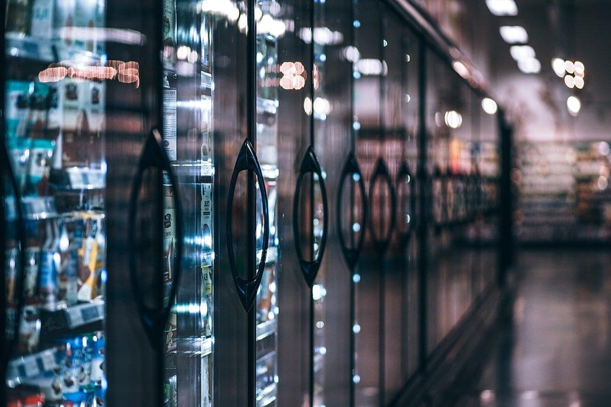 Supermarket shelves with doors
