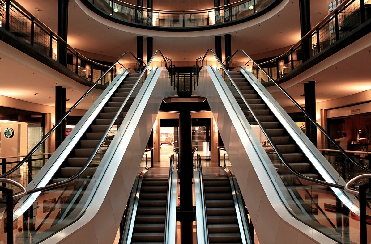 Escalators in a mall