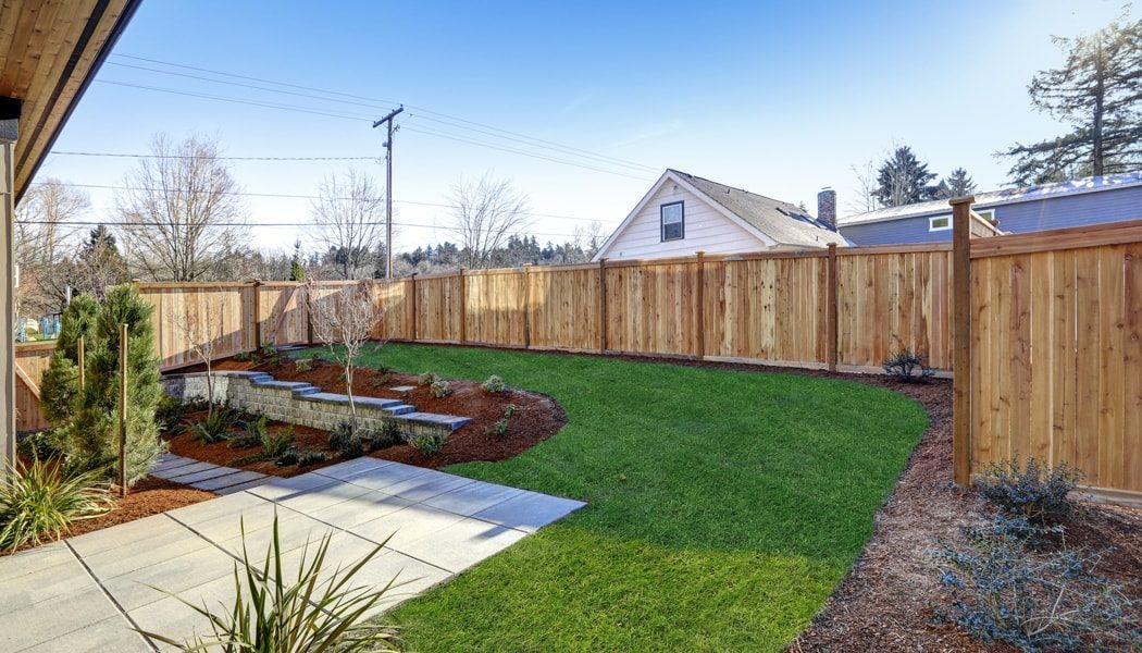 Fencing around a backyard