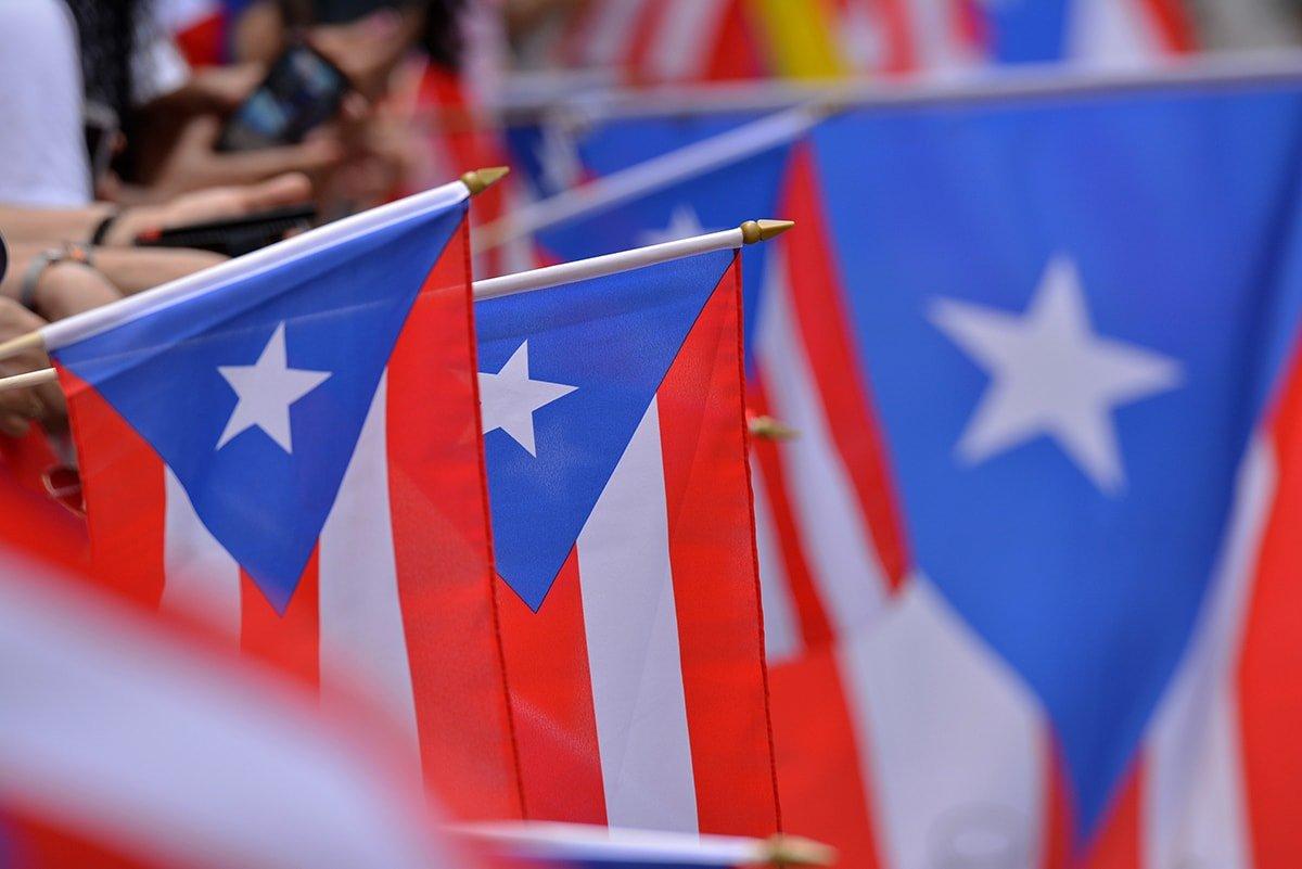 Puerto Rico flags at a parade
