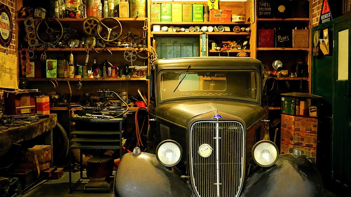 Garage with an old vintage car