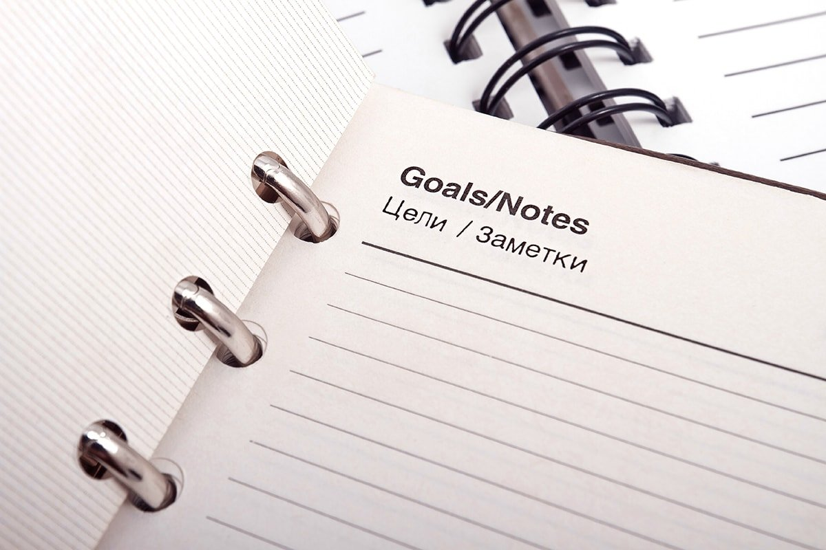 Setting goals in a notebook