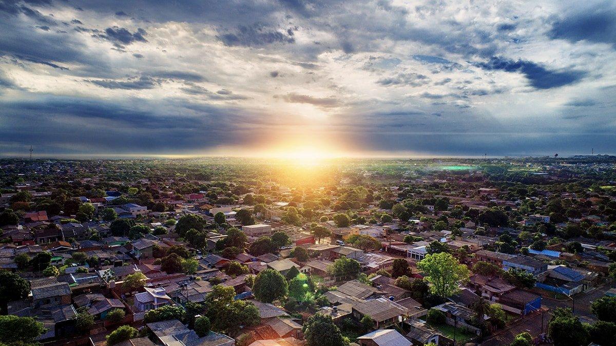 Sunrise over houses