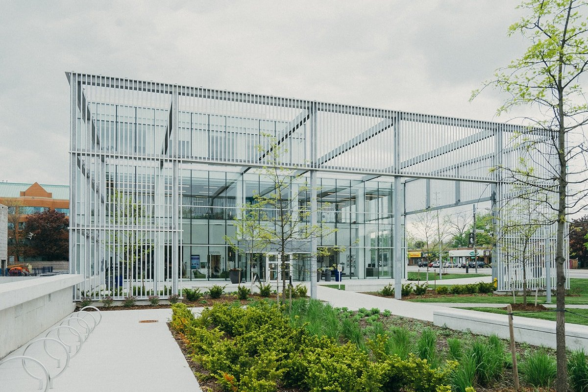 Metal and glass commercial building