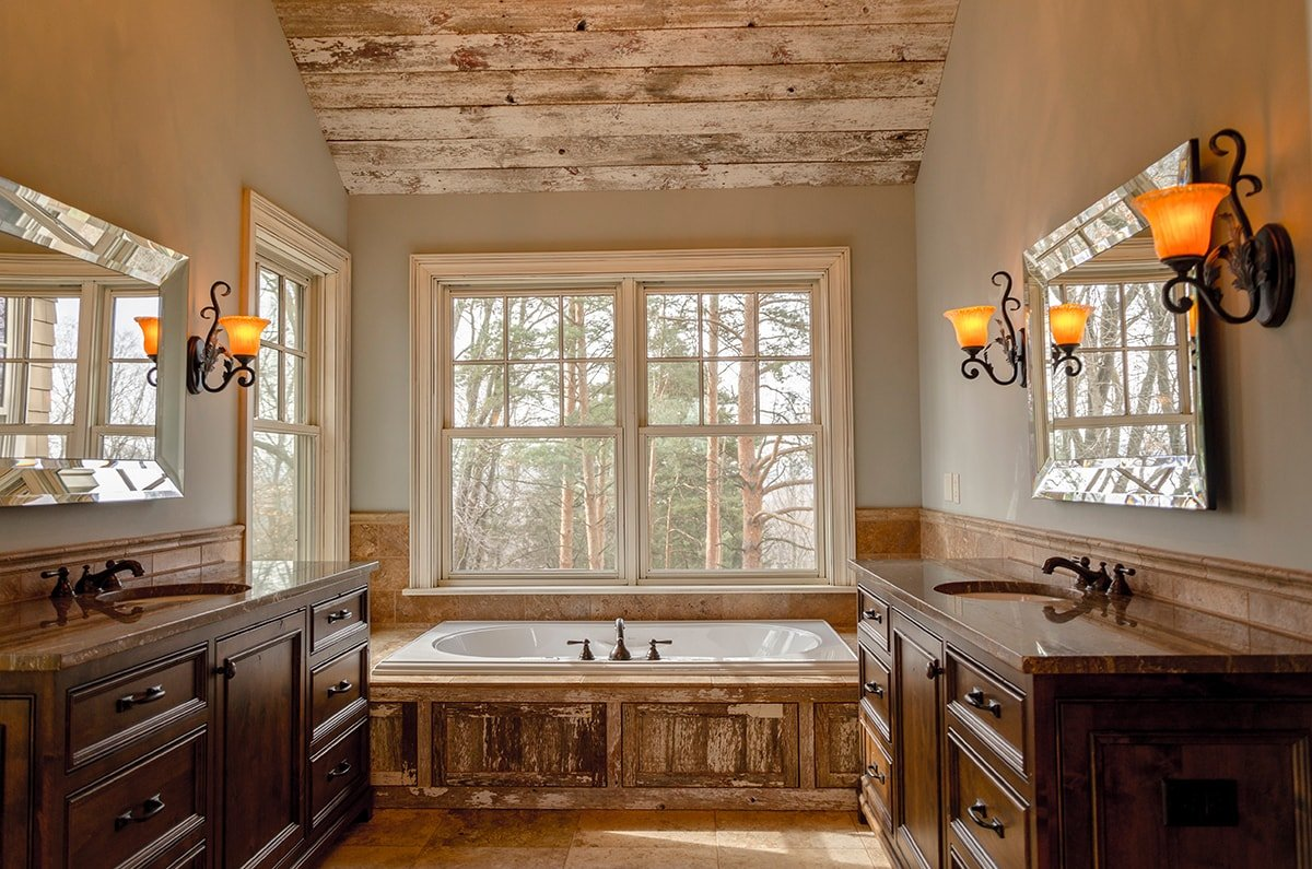 Nature themed bathroom with natural wood