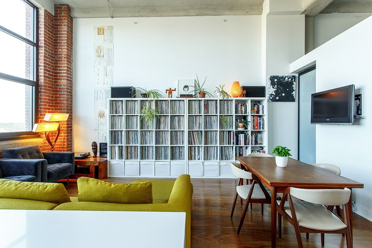 Bookshelves in a living room