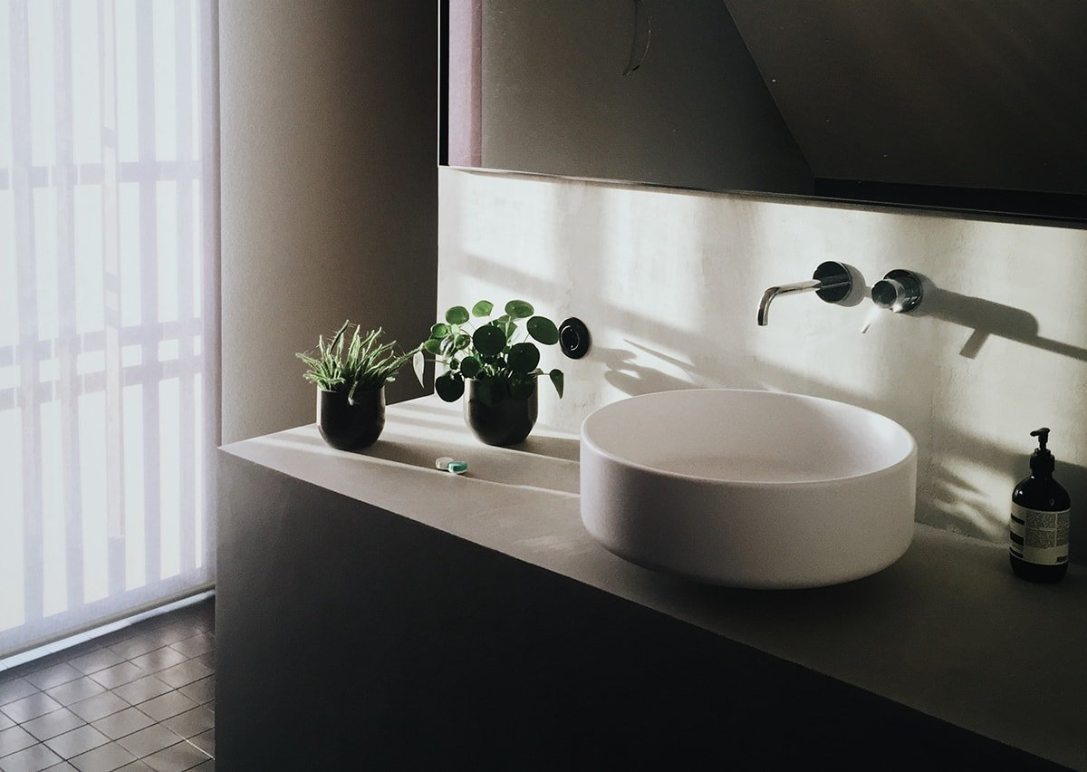 Vessel sink in a monochrome bathroom with plants