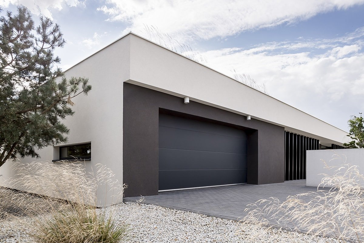 Black painted garage door