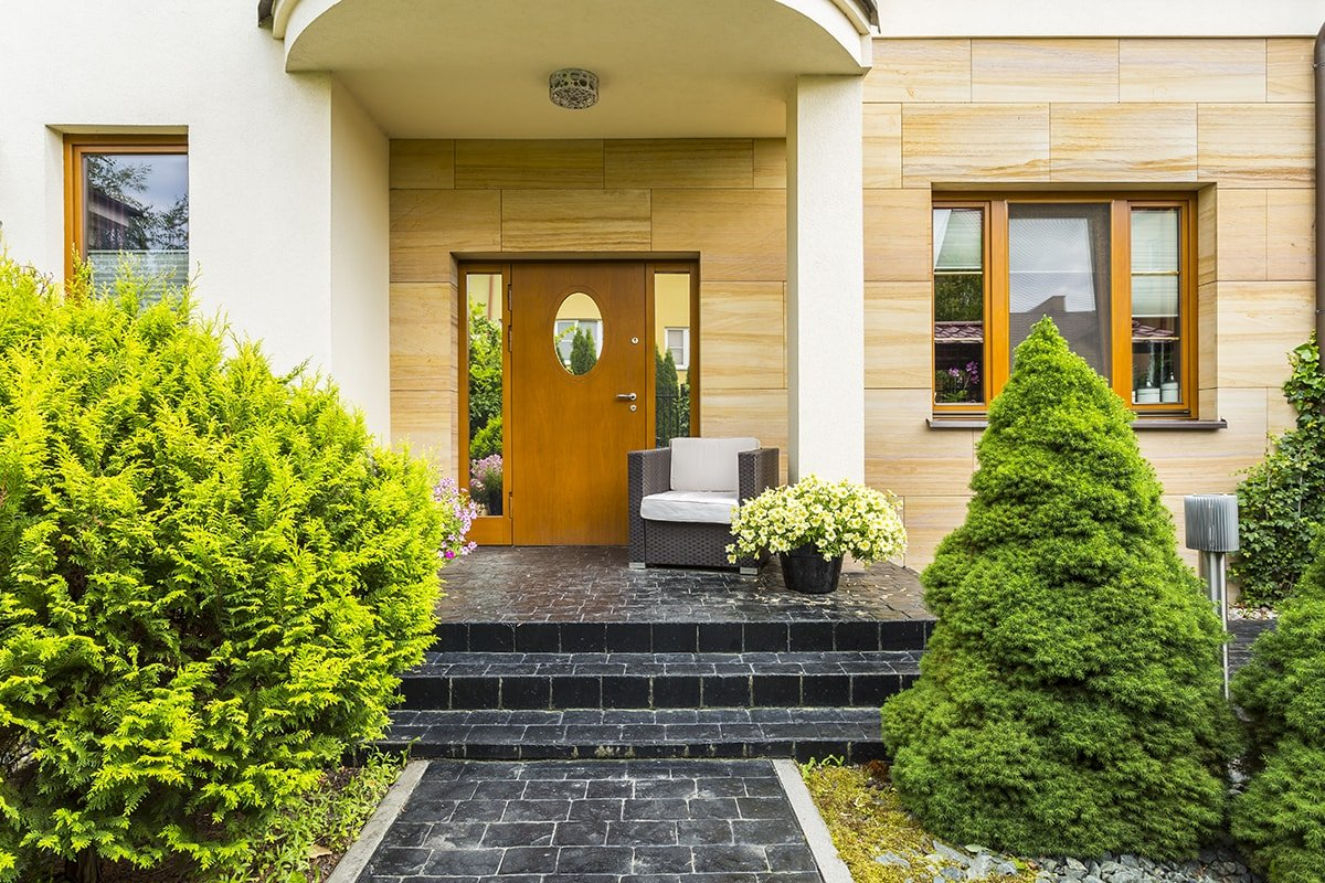 Stylish front entrance to house