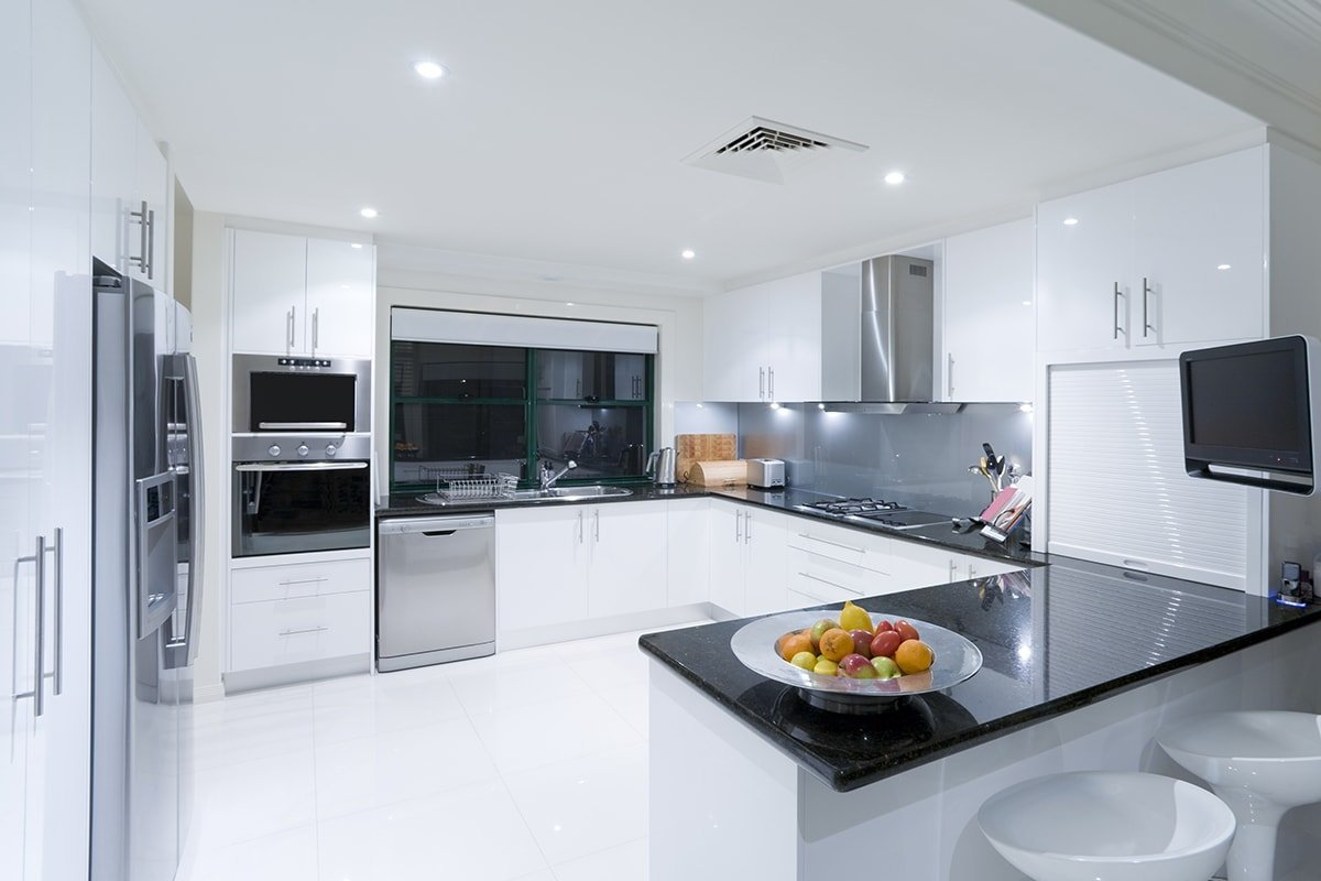 Modern white upgraded kitchen