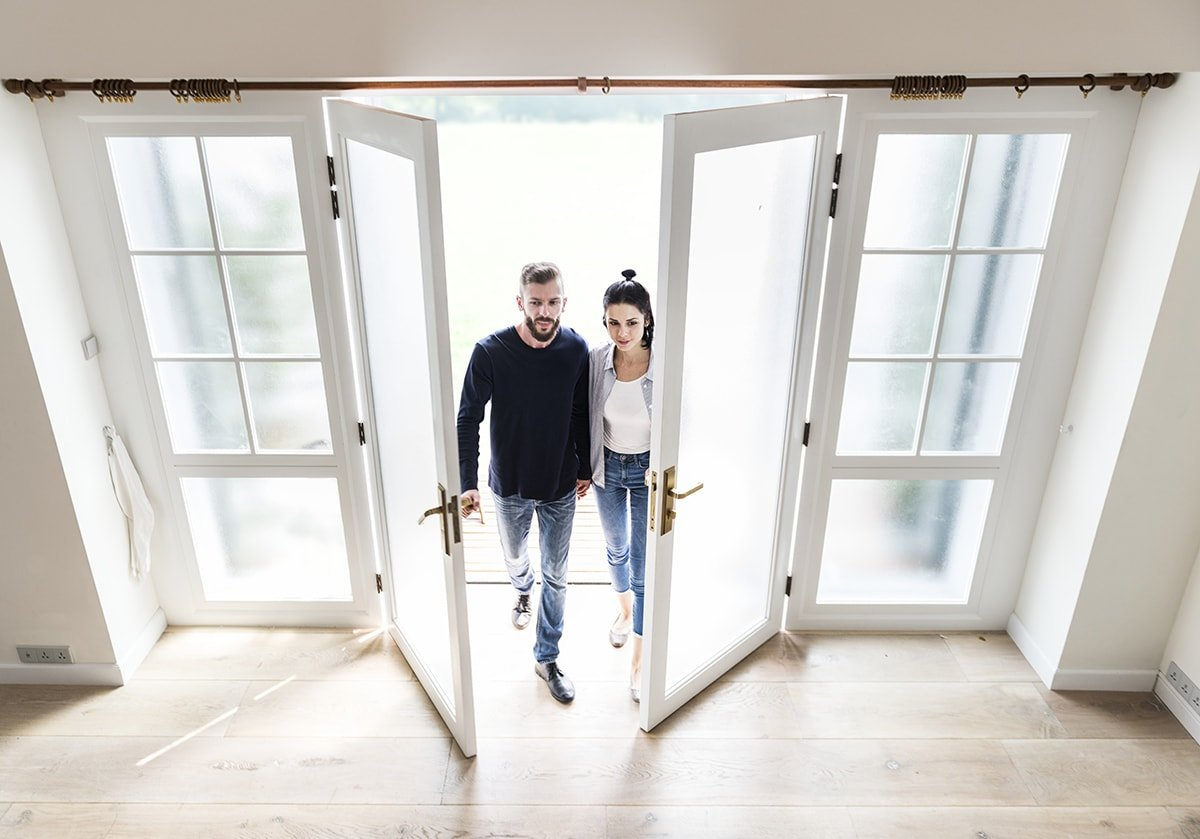 First-time home buyers entering new home