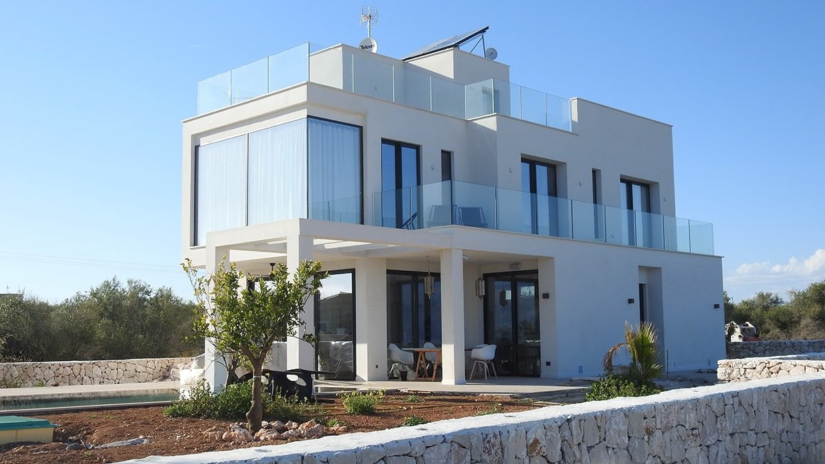 Modern house with white stucco