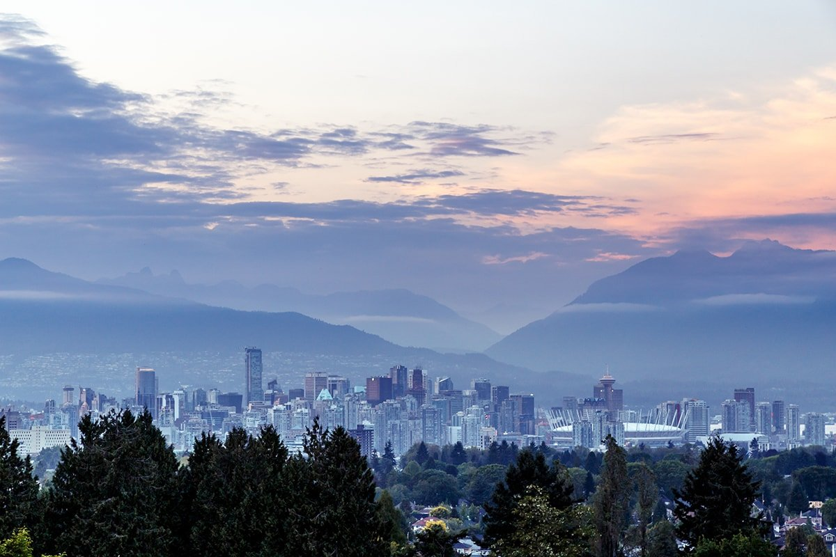 Vancouver skyline with sports complex