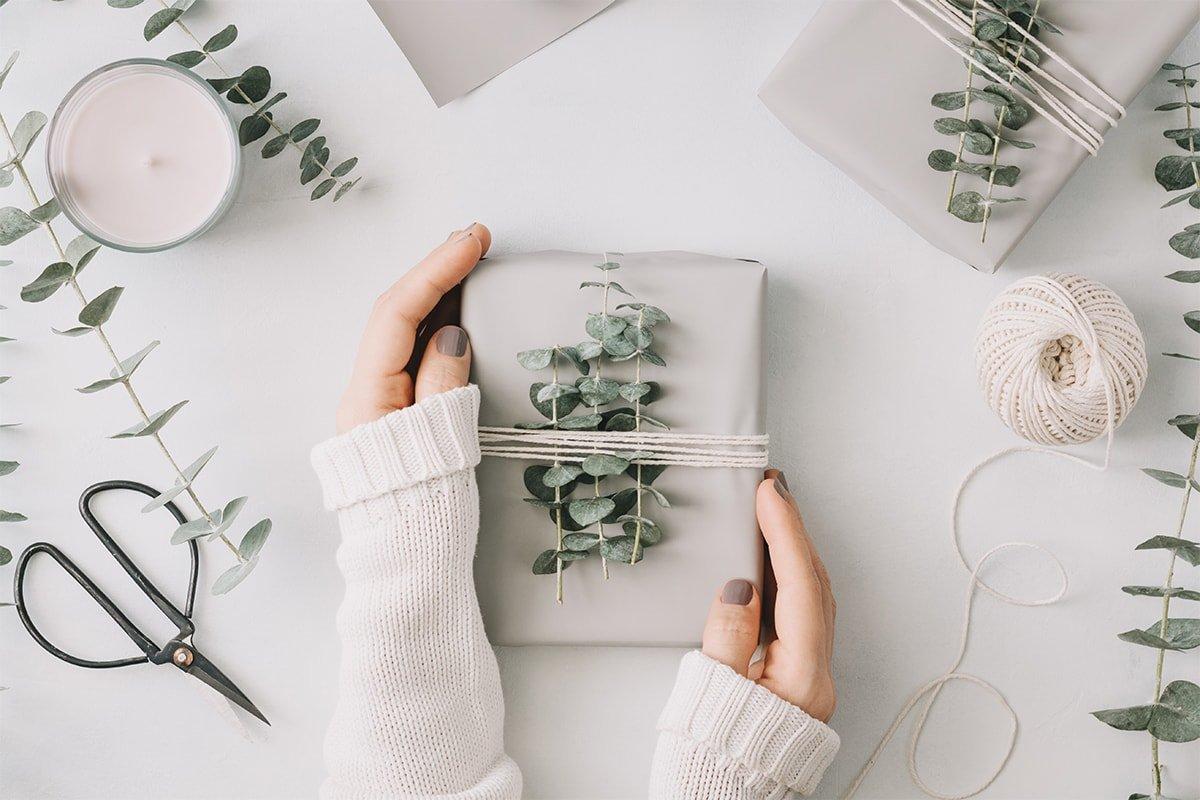 Girl's hands holding gift