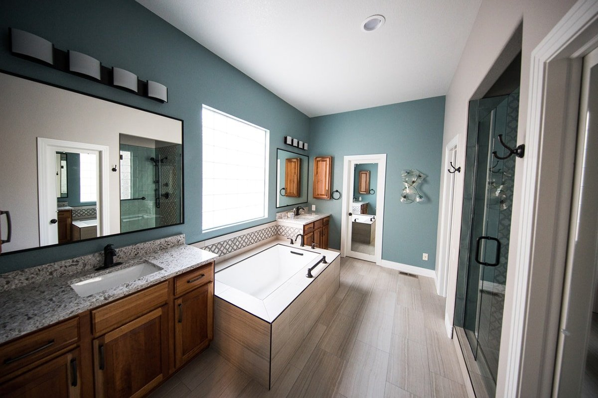 Bathroom with blue painted wall