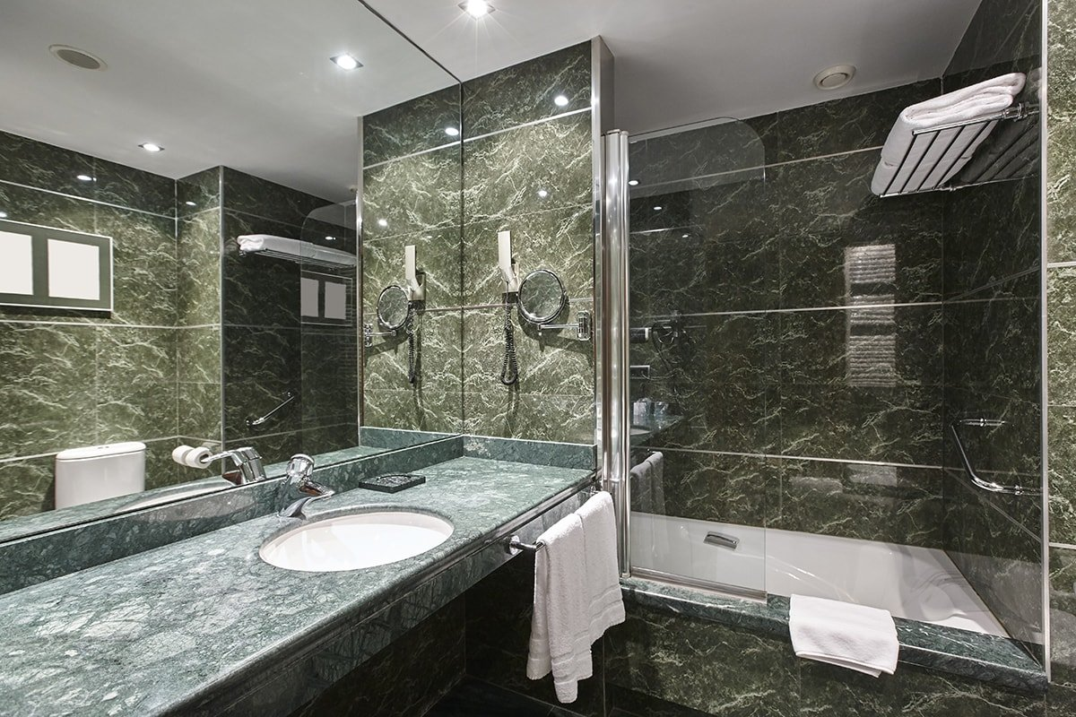 Bathroom with green marble