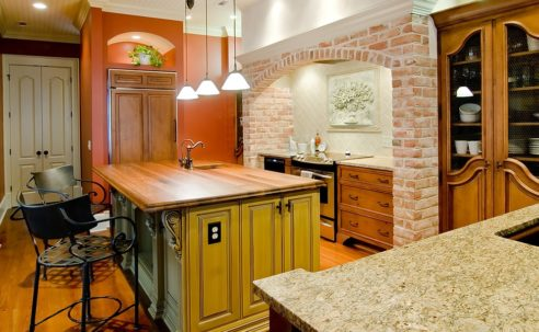 Kitchen with natural stone and brick